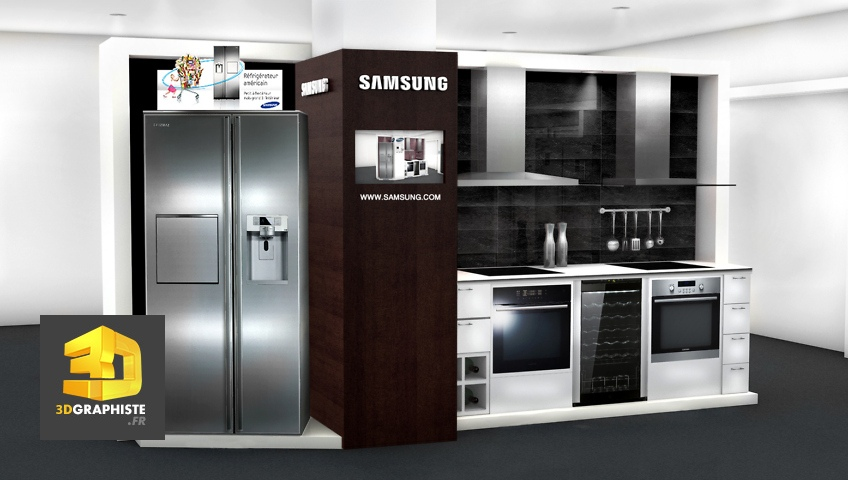 Creation de meubles PLV de presentation cuisines samsung