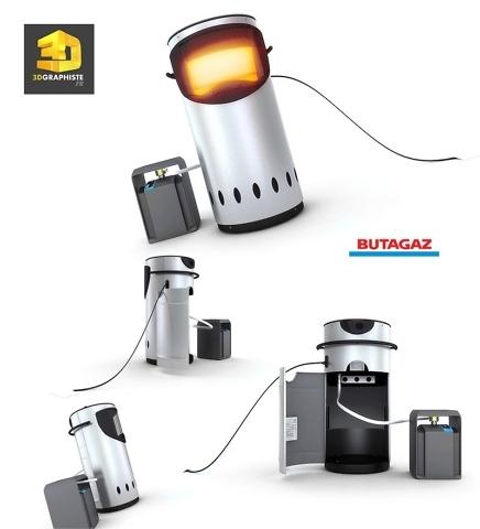 Designer 3d Rendu d'un radiateur Butagaz