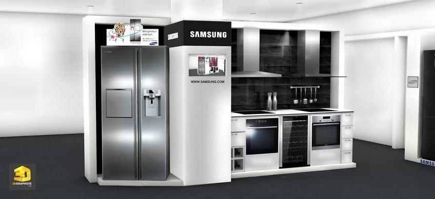 Designer meubles presentoirs cuisines Samsung