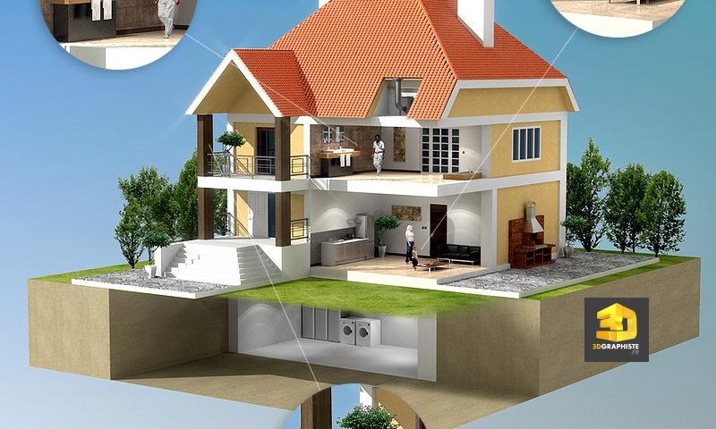 Écorché perspective 3D maison