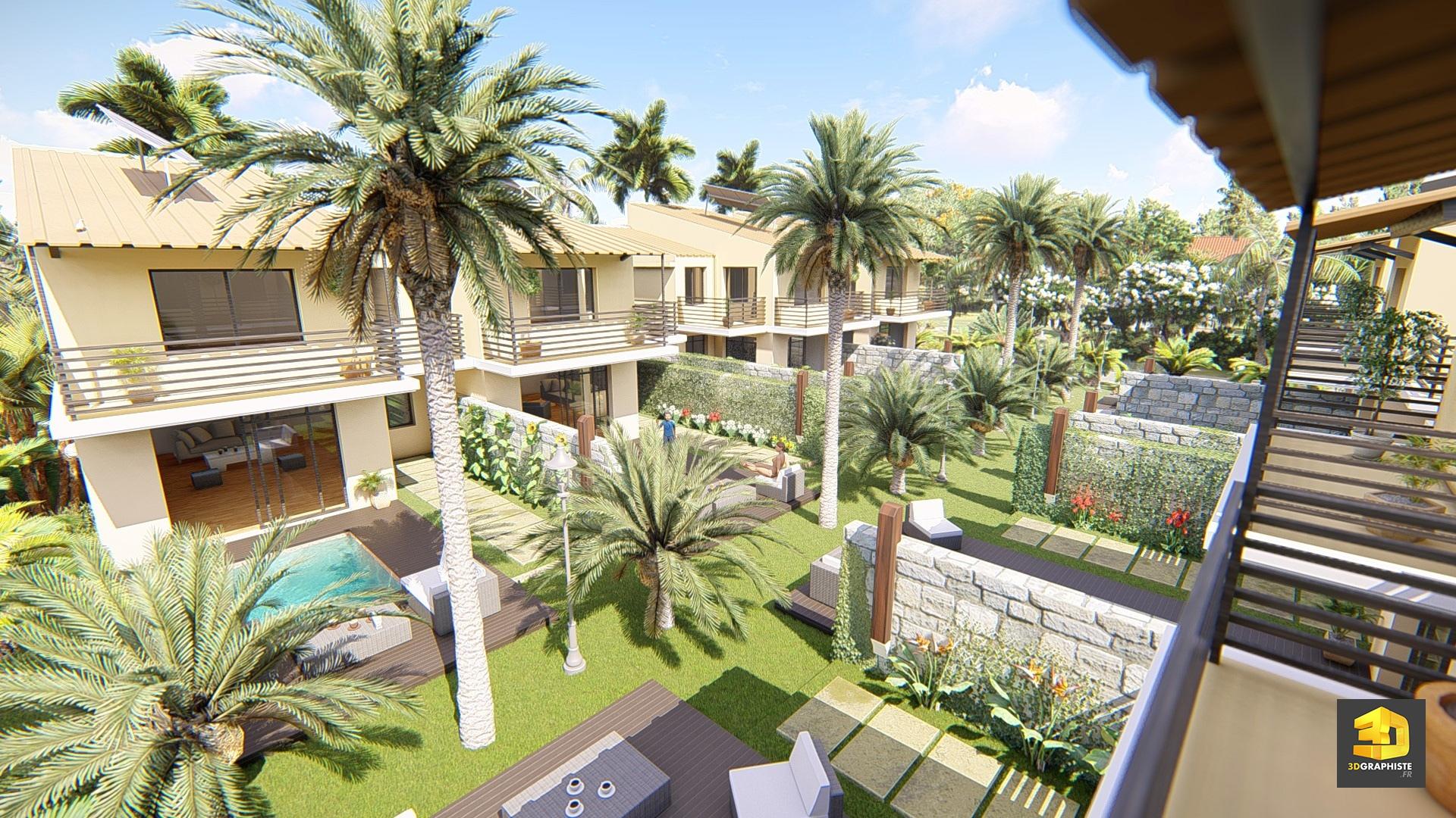 graphiste 3d villas tropicales 3dgraphiste fr. Black Bedroom Furniture Sets. Home Design Ideas