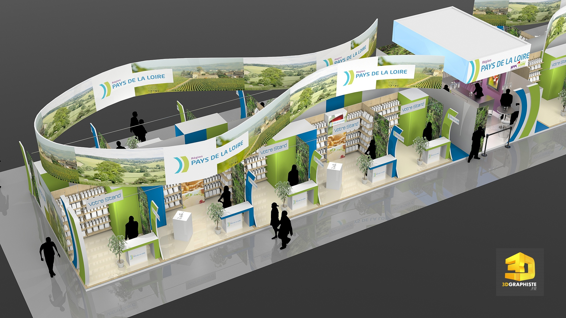 Cr ation d 39 un stand pavillon pour le salon de l for Stand de foire