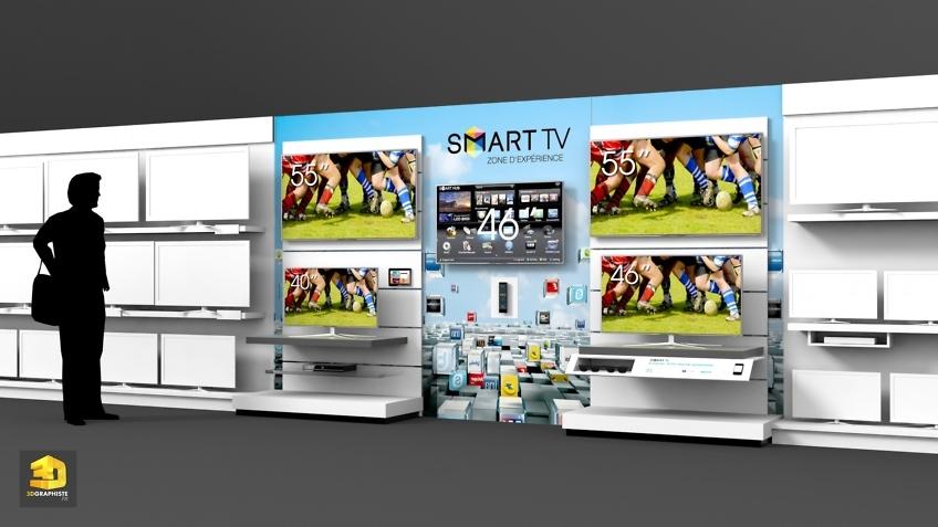 Graphiste PLV meuble lineaire Samsung