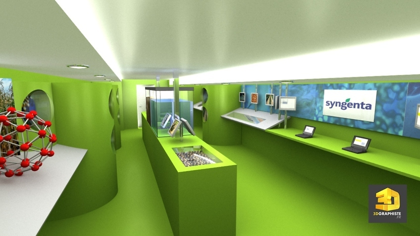 Illustration 3D interieur camion evenementiel syngenta