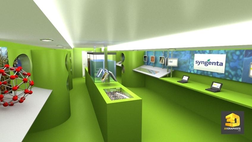 Illustration 3D interieur camion evenementiel syngenta