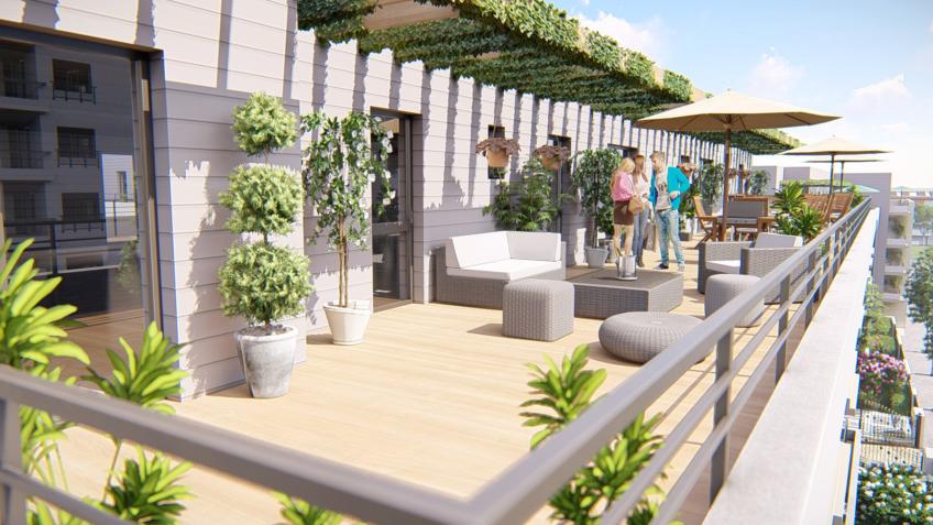 Illustration 3D résidence - Terrasse en Attique