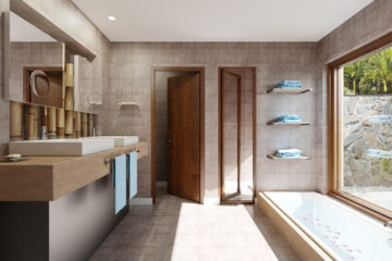 Illustration d'architecture 3d salle de bain