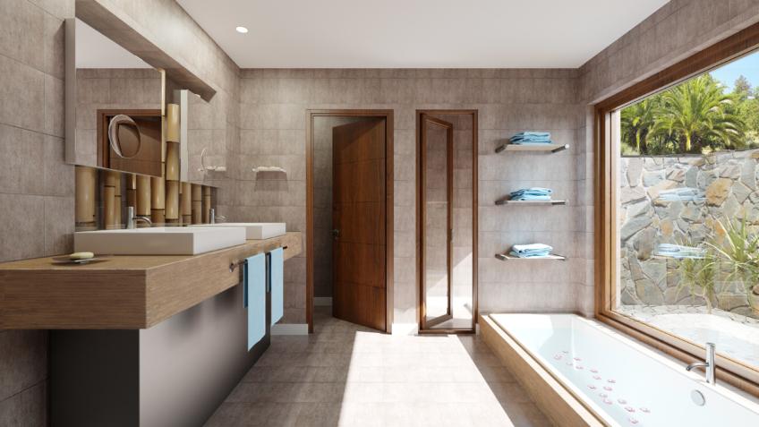 Illustration d'architecture 3d salle de bain