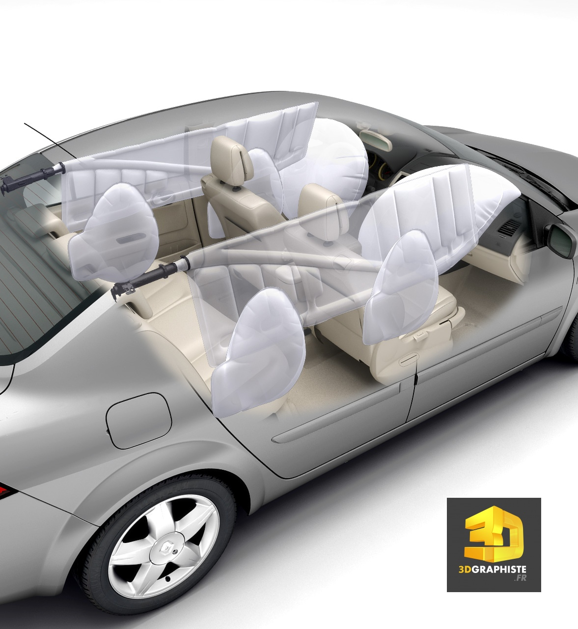 illustration technique 3d les airbags d 39 une voiture 3dgraphiste fr. Black Bedroom Furniture Sets. Home Design Ideas