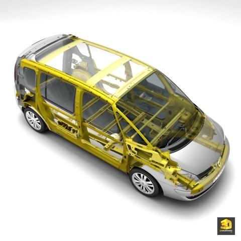 Illustration technique automobile - structure renforcée d'une voiture