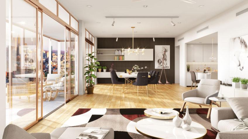 image 3d séjour salon appartement