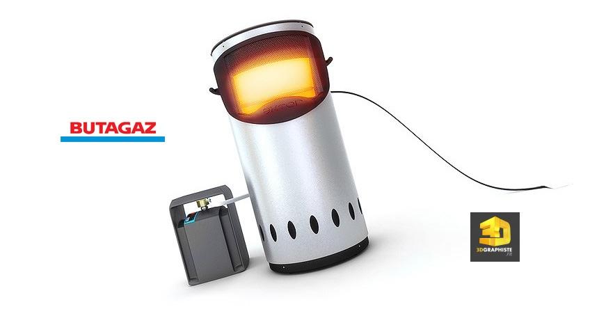 Infographie 3D rendu radiateur Butagaz