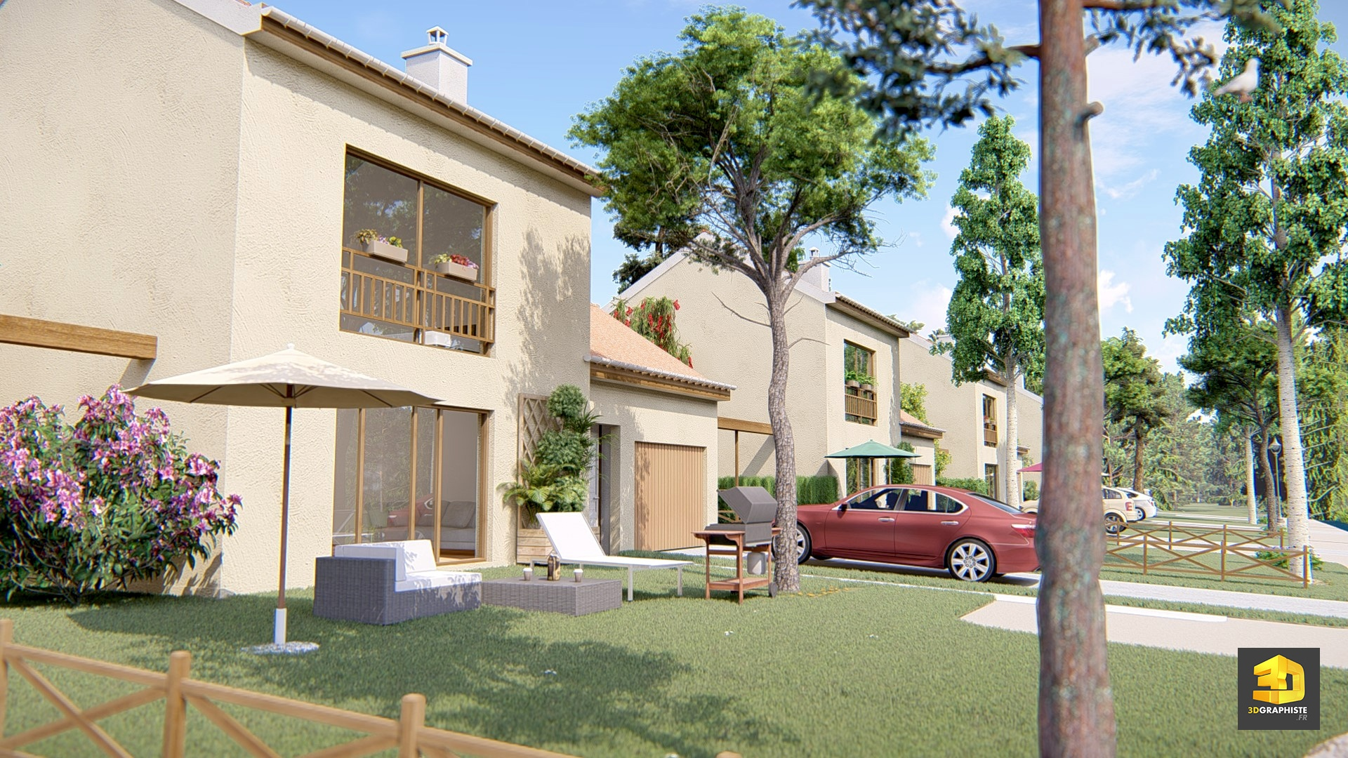 Cr ation d 39 une perspective 3d lotissement et maisons for Architecture 3d maison
