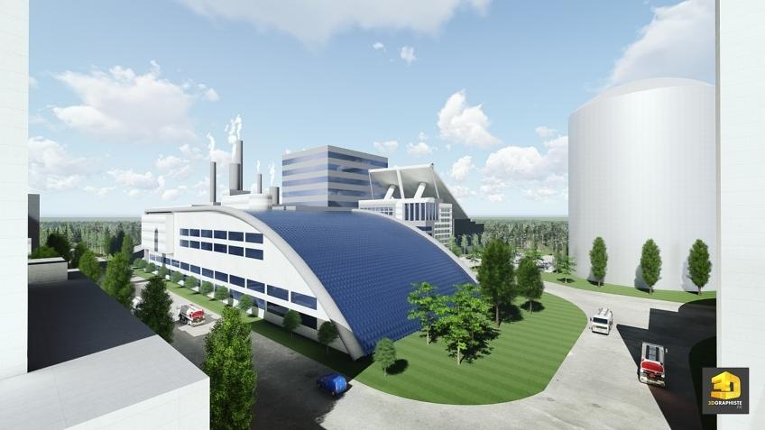 Perspectiviste d'Architecture pour une Usinearchitecture-usine