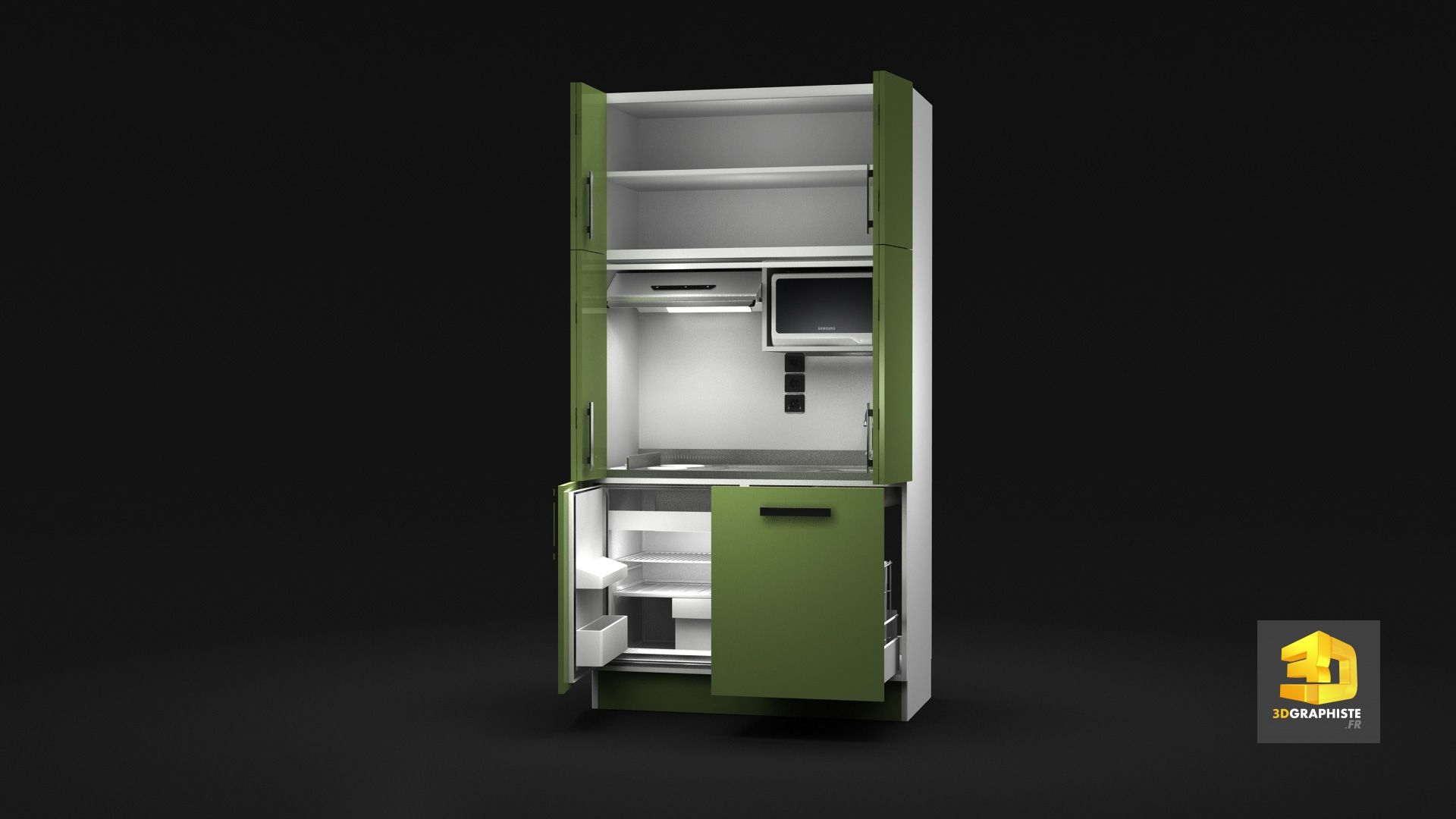 Animation 3d kitchenette meuble de cuisine 3dgraphiste fr for Meuble de cuisine complet