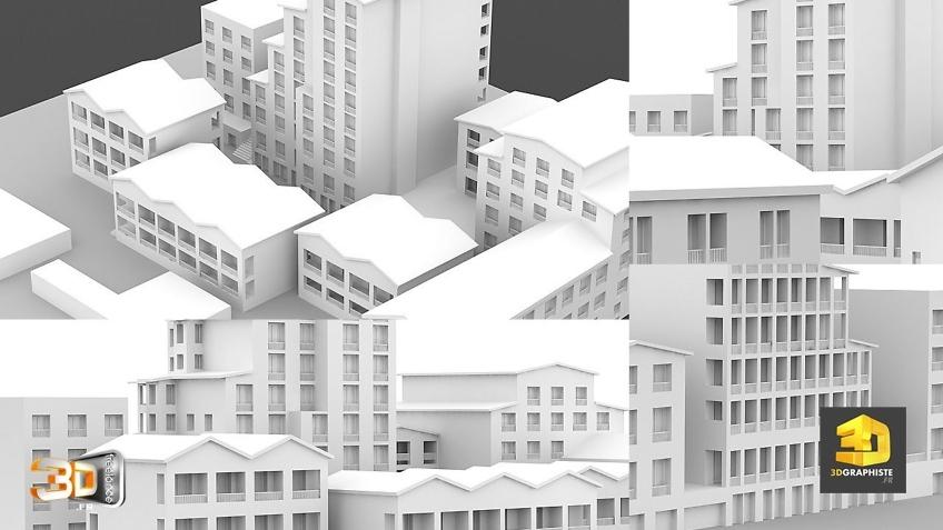 infographiste architecture - modelisation d'immeubles 3D en volumetrie - Maquette blanche