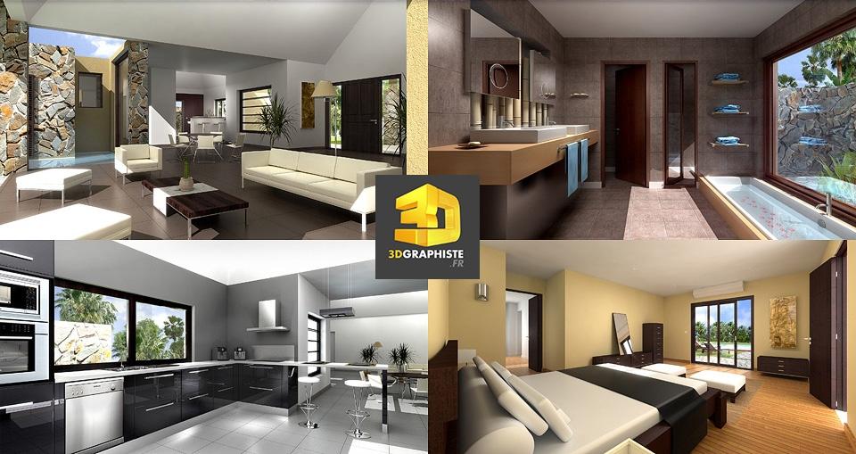 perspectives int rieures de villas de luxe 3dgraphiste fr. Black Bedroom Furniture Sets. Home Design Ideas