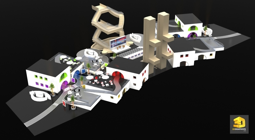 Infographiste evenementiel rough 3D centre commercial