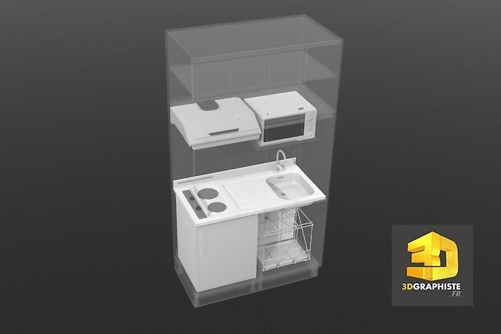 modeleur 3d freelance - kitchenette - meuble de cuisine
