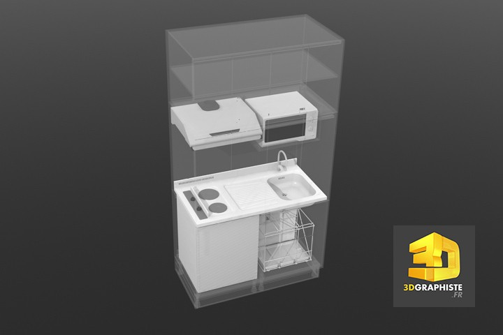 Animation 3d kitchenette meuble de cuisine 3dgraphiste fr for Modelisation 3d cuisine
