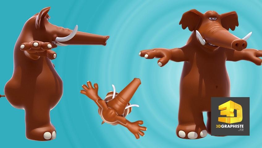 Personnage 3D Éléphant - Mascotte 3D