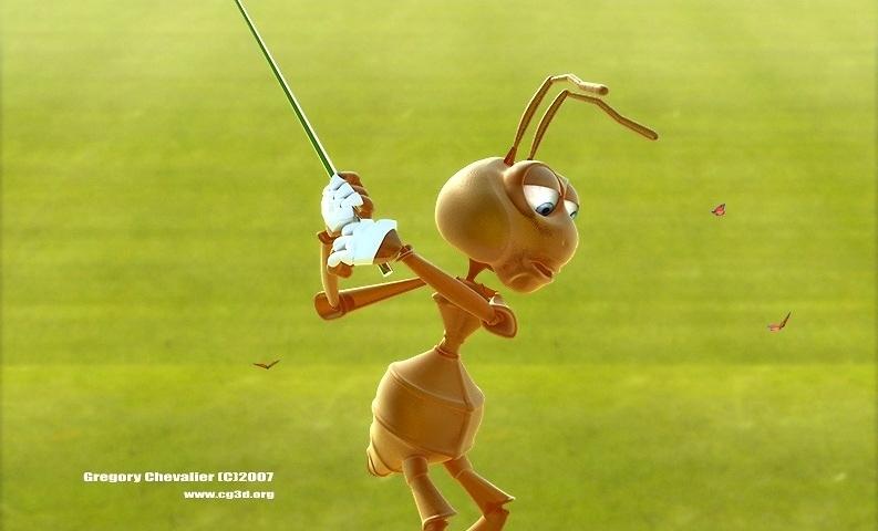 personnage 3d fourmi golfer