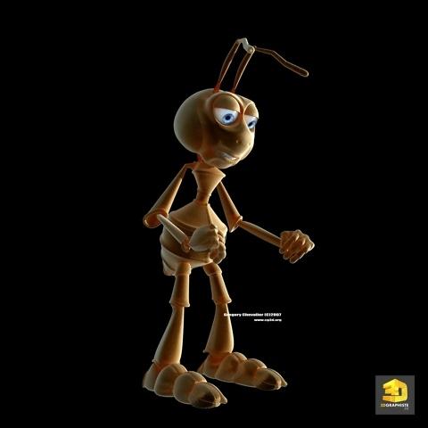 personnage mascotte 3d fourmi