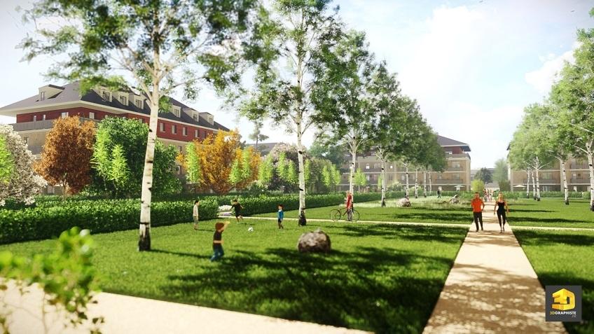 perspective 3d architecture résidence jardins