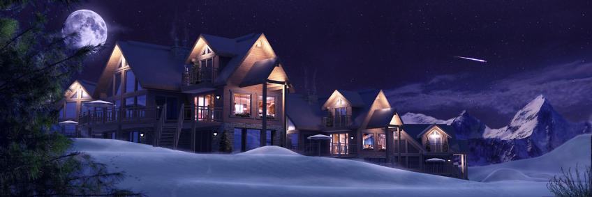 perspective architecture chalet 3d exterieur de nuit