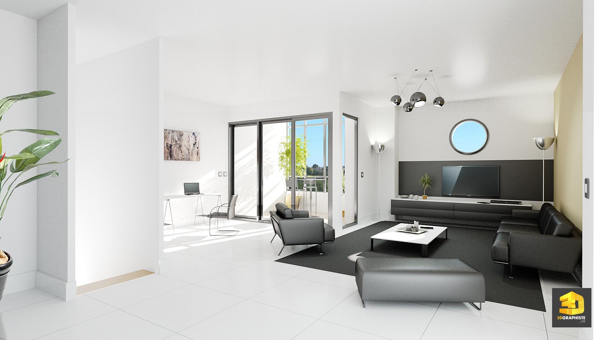 perspective pour l 39 immobilier d 39 un salon s jour 3dgraphiste fr. Black Bedroom Furniture Sets. Home Design Ideas