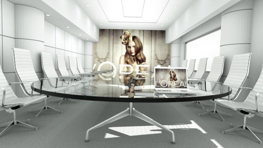 perspective infographie 3d - salle de réunion - L'Oréal