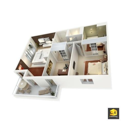 plan de vente 3d appartement Axonométrie