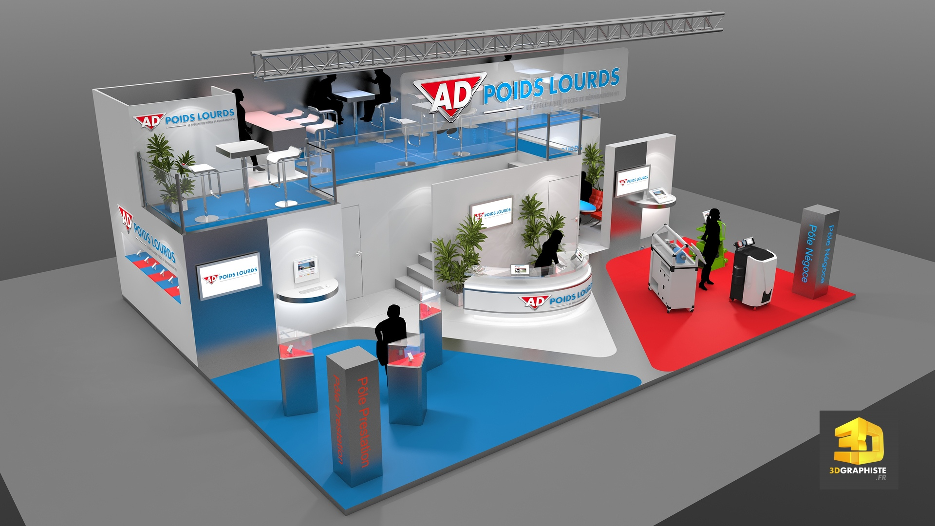Stand autodistribution cr ation de stands 3dgraphiste fr for Salon stand