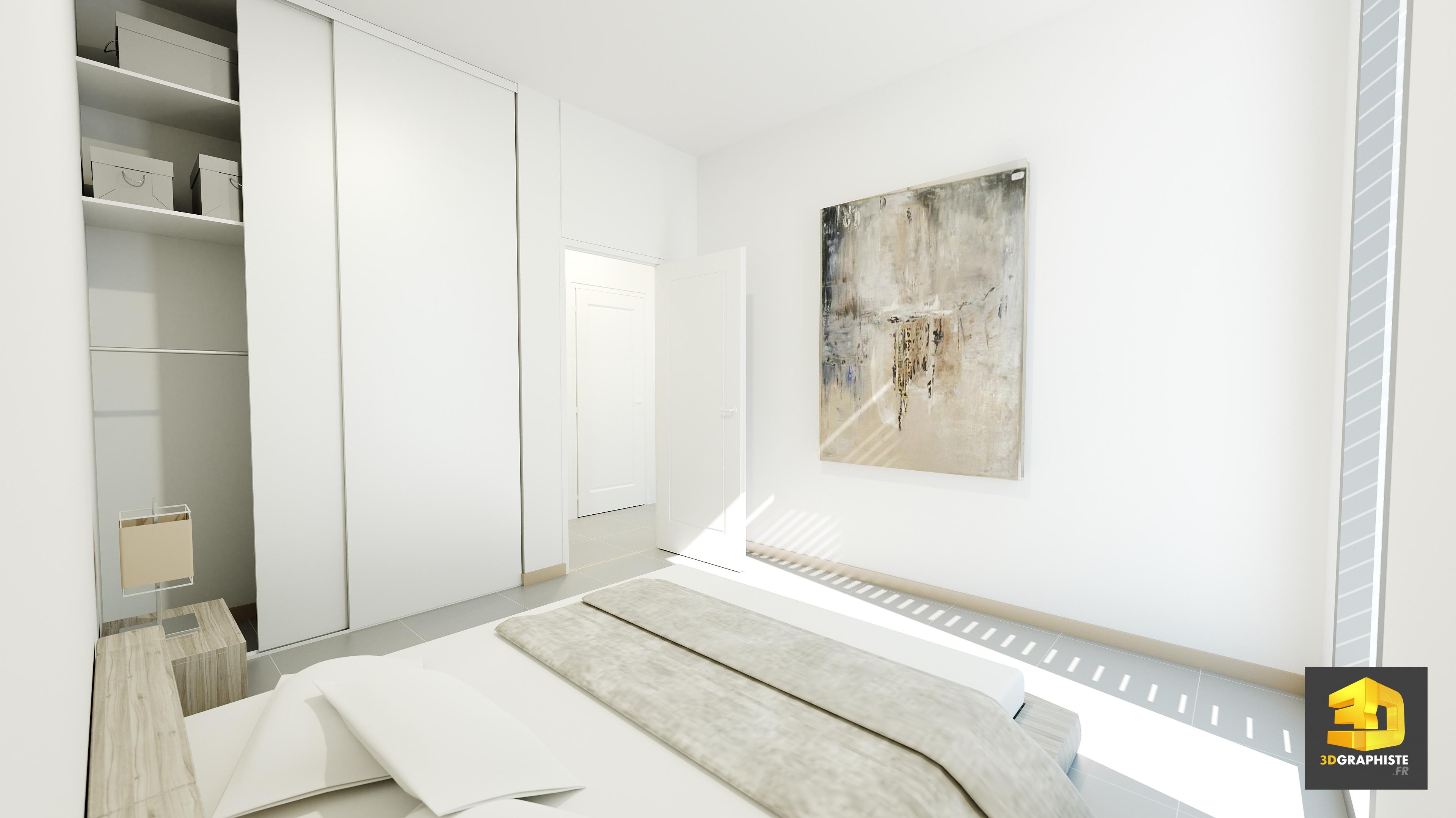 Perspective 3D interieure - chambre a coucher - 3DGRAPHISTE.FR