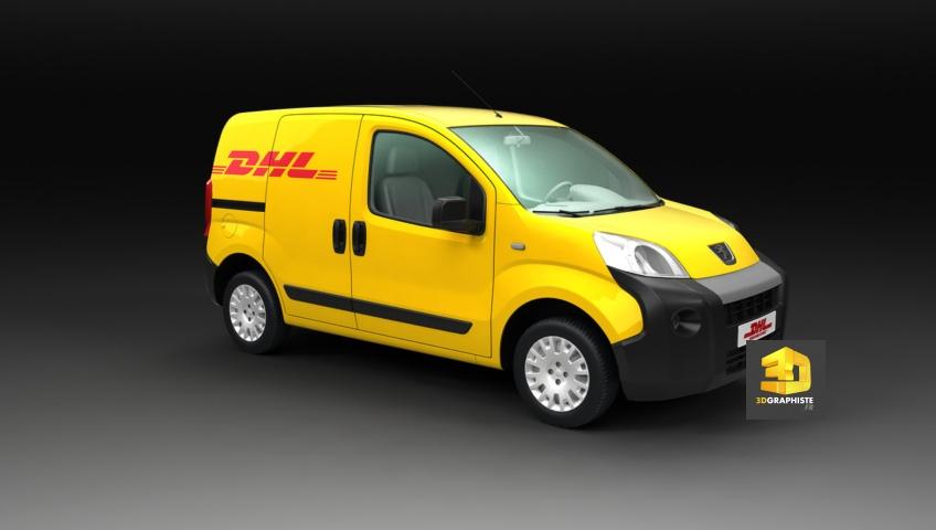 Véhicule utilitaire DHL Peugeot - Infographie 3D
