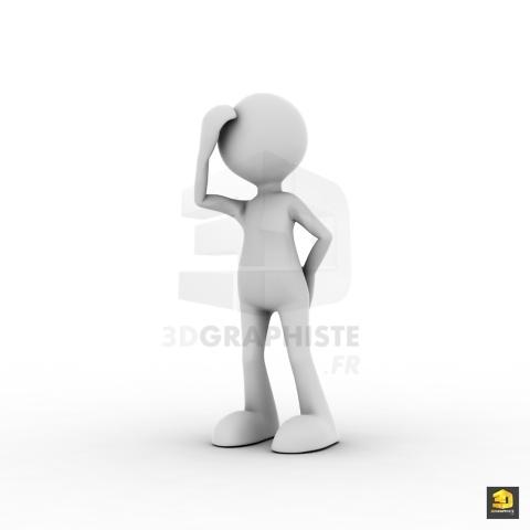 Bonhomme 3D réfléchit - Personnage blanc