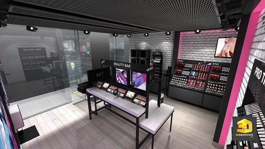 Design boutique produits cosmétiques NYX