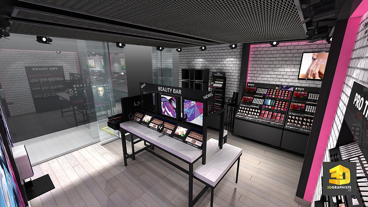Agencement magasins nyx et d coration d int rieur for Design d interieur boutique