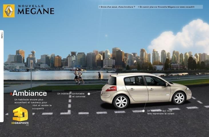 infographie voiture 3d dans decors photo