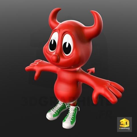 modelisation 3d mascotte diablotin-diable