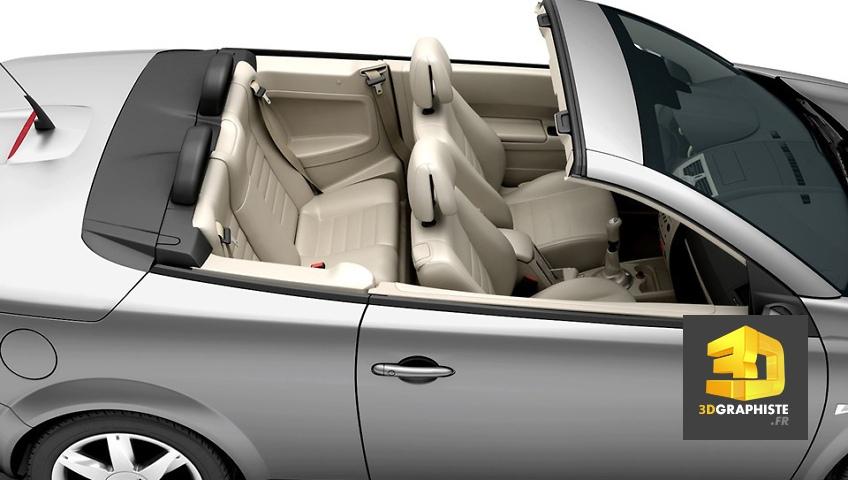 rendu 3d intérieur véhicule Renault Mégane cabriolet