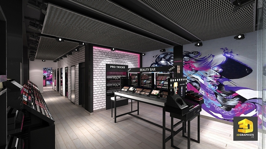 Rough 3D perspectives magasins boutiques NYX