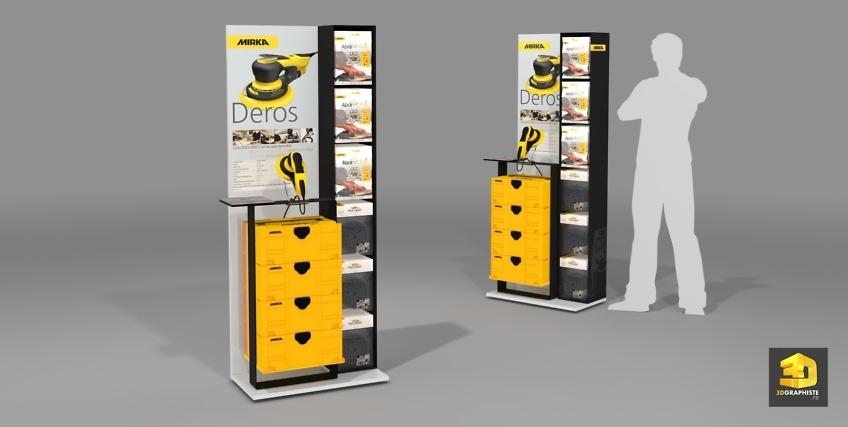 Design meuble présentoir de vente Mirka