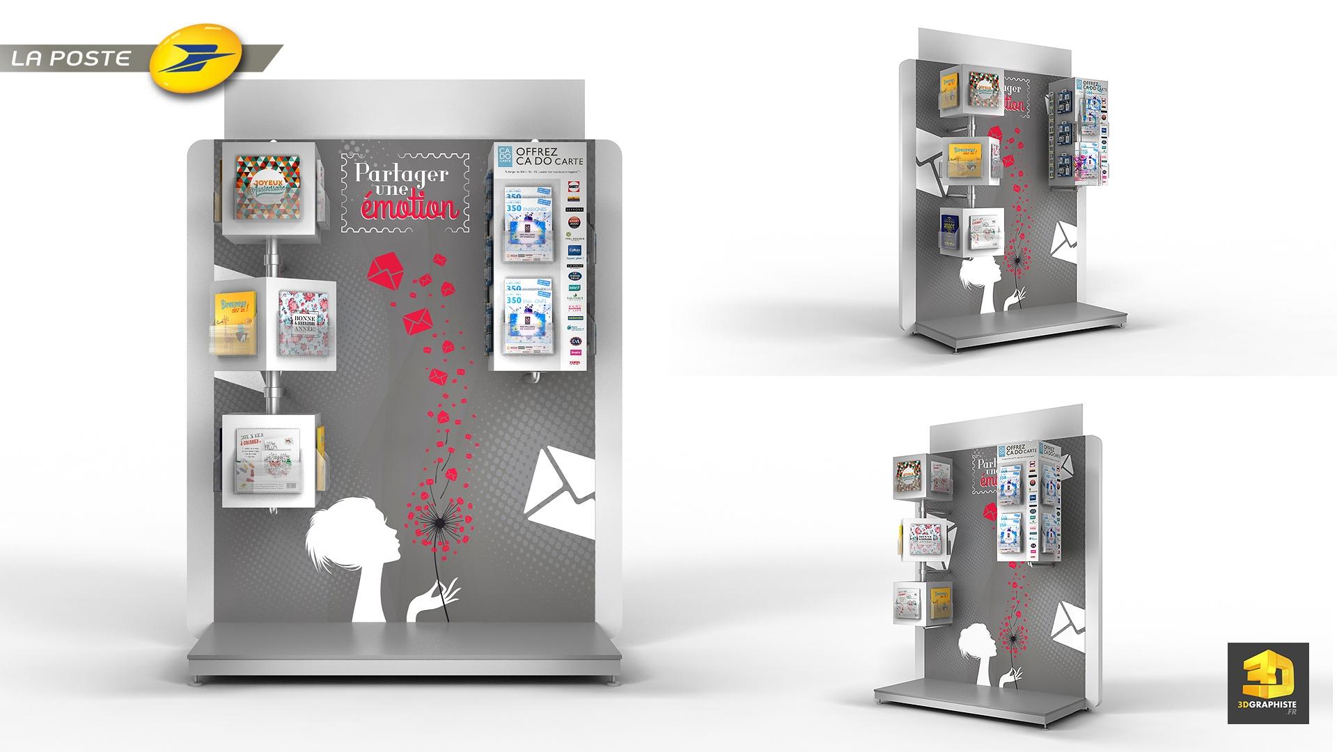 meuble plv pr sentoirs la poste 3dgraphiste fr. Black Bedroom Furniture Sets. Home Design Ideas