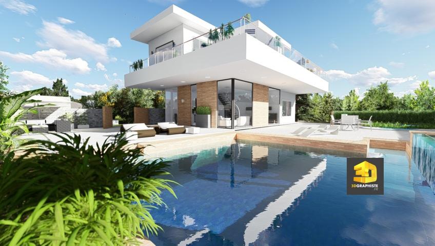 perspective 3d architecture - maisons contemporaines