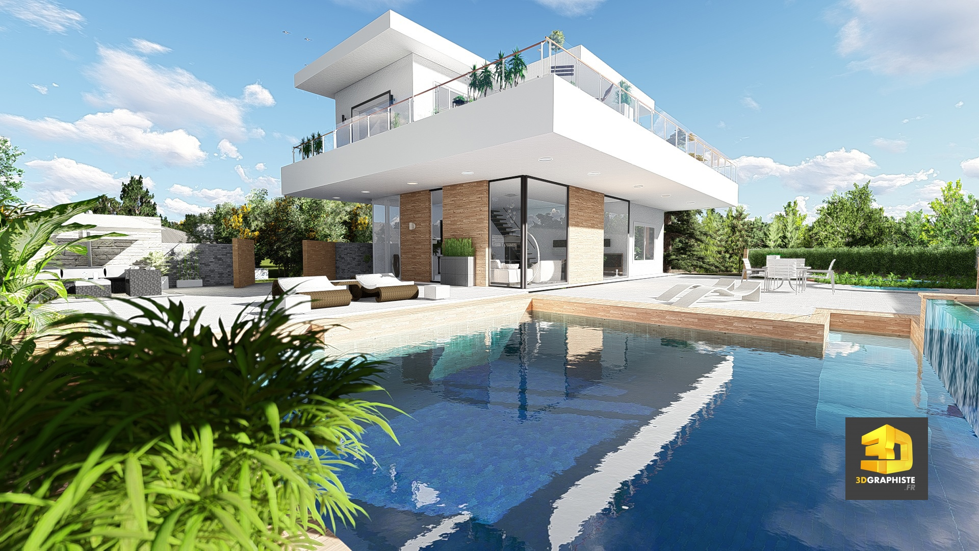Perspective 3d d 39 une maison contemporaine 3dgraphiste fr for Plans d architecture maison
