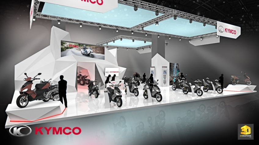 Creation de stand salon scooters - Kymco - perspective 3D