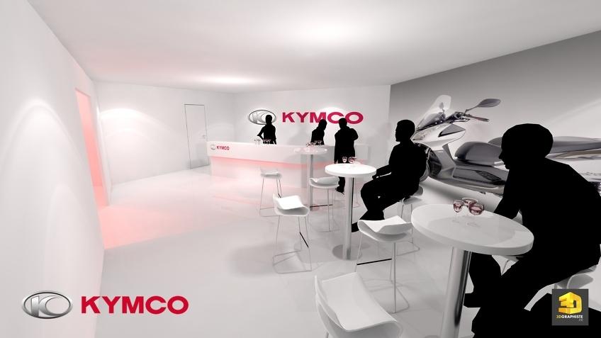 intérieur du stand Kymco - Le bar