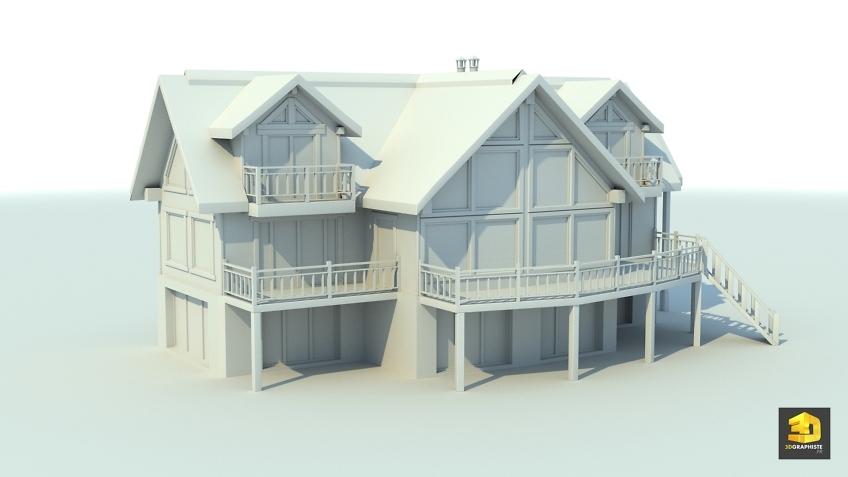 modelisation 3d architecture - chalet de montagne