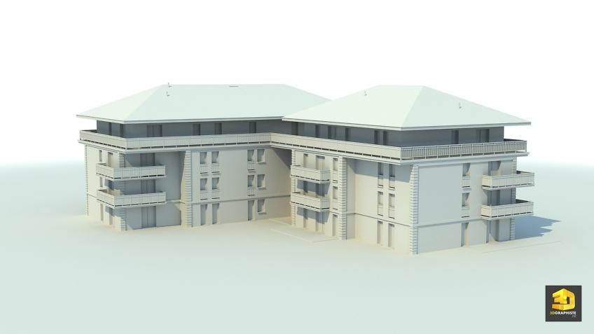 modélisation 3d architecture - immeuble résidentiel